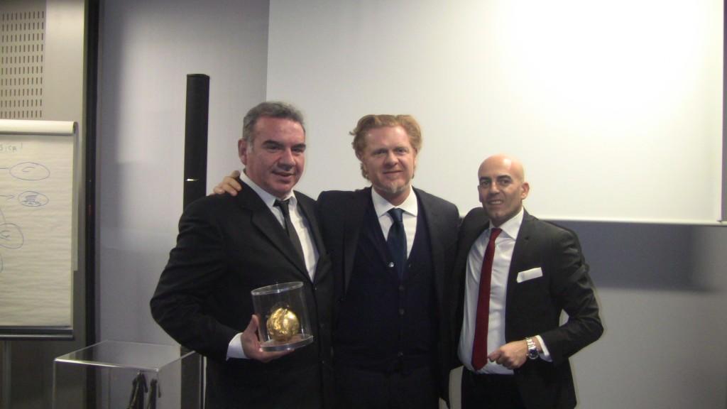 Nella foto Umberto Scrocca, Massimo Ferrarotti e Danilo Gigante presidente di International Broker Art
